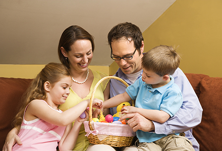 Family with Easter basket.